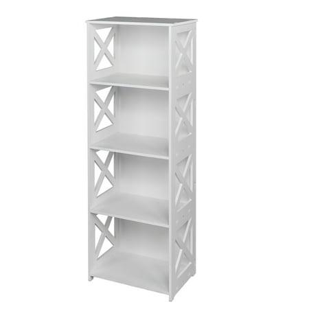 Zimtown 4-Shelf Shelving Unit Wooden Plastic Composite Waterproof White Storage Shelf Bookcase Display Shelf Suitable for Bedroom Living Room Kitchen