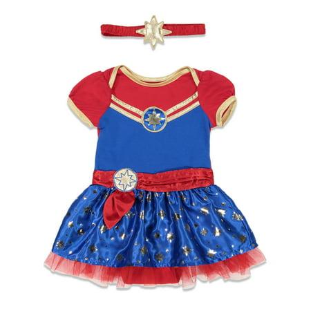 Marvel Captain Marvel Baby Girls Short Sleeve Costume Dress & Headband 12 Months