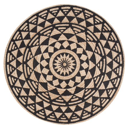 Round Tribal Multi Star Screen Print Rug