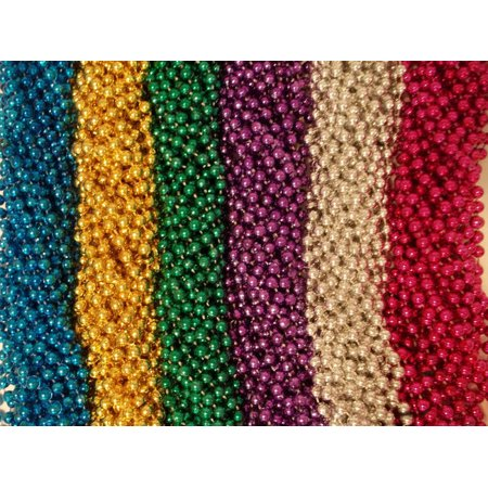 100 Asst 6 color Mardi Gras Gra Beads Necklaces Party Favors Huge - Homemade Mardi Gras Decorations
