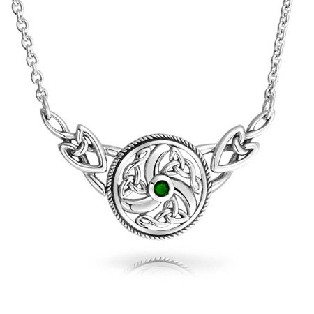 Bling Jewelry Simulated Emerald Glass Celtic Knot Necklace Silver 16in