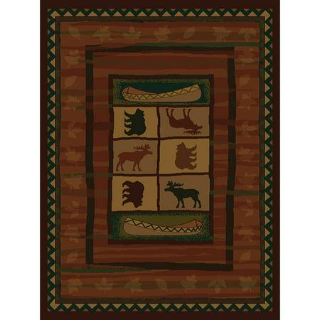 Westfield Home Ridgeland Montana Black/Green/Gold/Beige/Burgundy/Brown  Polypropylene Runner Rug - 1'11