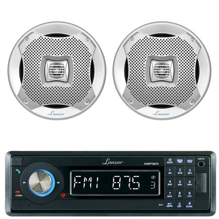 Lanzar AQMP70BTB Single DIN In Dash Bluetooth AUX USB MMC SD MP3 Boat Receiver, 2x Lanzar AQ6CXS 6.5