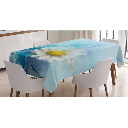 Watercolor Flower Home Decor Tablecloth  Oil Painting Chamomile Pattern With Splash On Background Image  Rectangular Table Cover For Dining Room Kitchen  60 X 90 Inches  White Blue  By Ambesonne