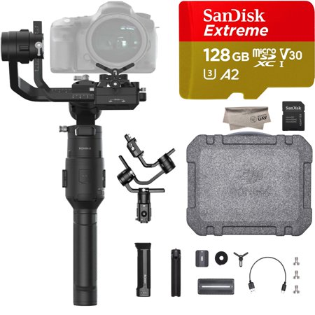 DJI Ronin-S Essential Kit for Handheld 3-Axis Gimbal Stabilizer, Comes 128GB Micro SD, Tripod, Gimbal Hook and Loop Strap, 1 Year Limited Warranty, - Wall Stabilizer Kit