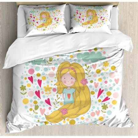 Kids Girls Queen Size Duvet Cover Set, Little Kid with Pinkish Cheeks and Long Hair Surrounded by Spring Nature Cartoon, Decorative 3 Piece Bedding Set with 2 Pillow Shams, Multicolor, by Ambesonne ()