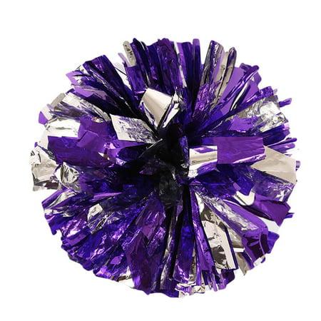 Metallic Foil And Plastic Ring Handheld Pom Poms Cheerleading Party Decor - Cheerleading Supplies