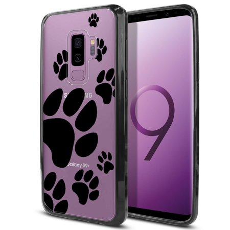 FINCIBO Slim TPU Bumper + Clear Hard Back Cover for Samsung Galaxy S9 Plus, Dog Paw