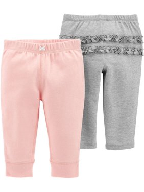 Carters Baby Girls 2-pk. Solid Ruffle Babysoft Pull-On Pants