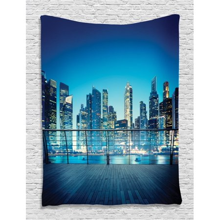 Skyline New York City Night Tapestry Wall Hanging For Living Room Bedroom Dorm