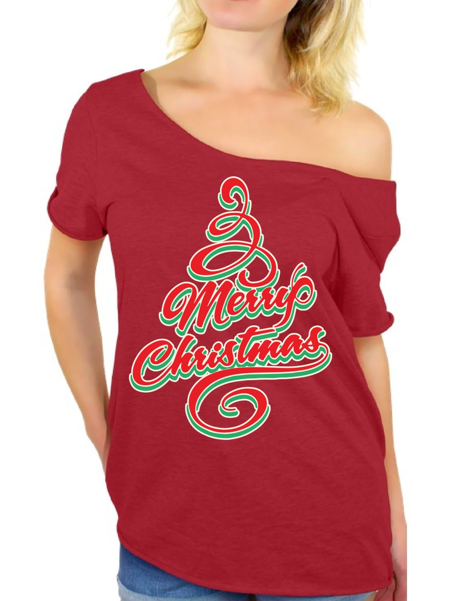 4008b80f159192 Awkward Styles Merry Christmas Off Shoulder Shirt Christmas Tree Off the Shoulder  T Shirt Slouchy Oversized Shirt Women's Holiday Shirt Merry Christmas ...