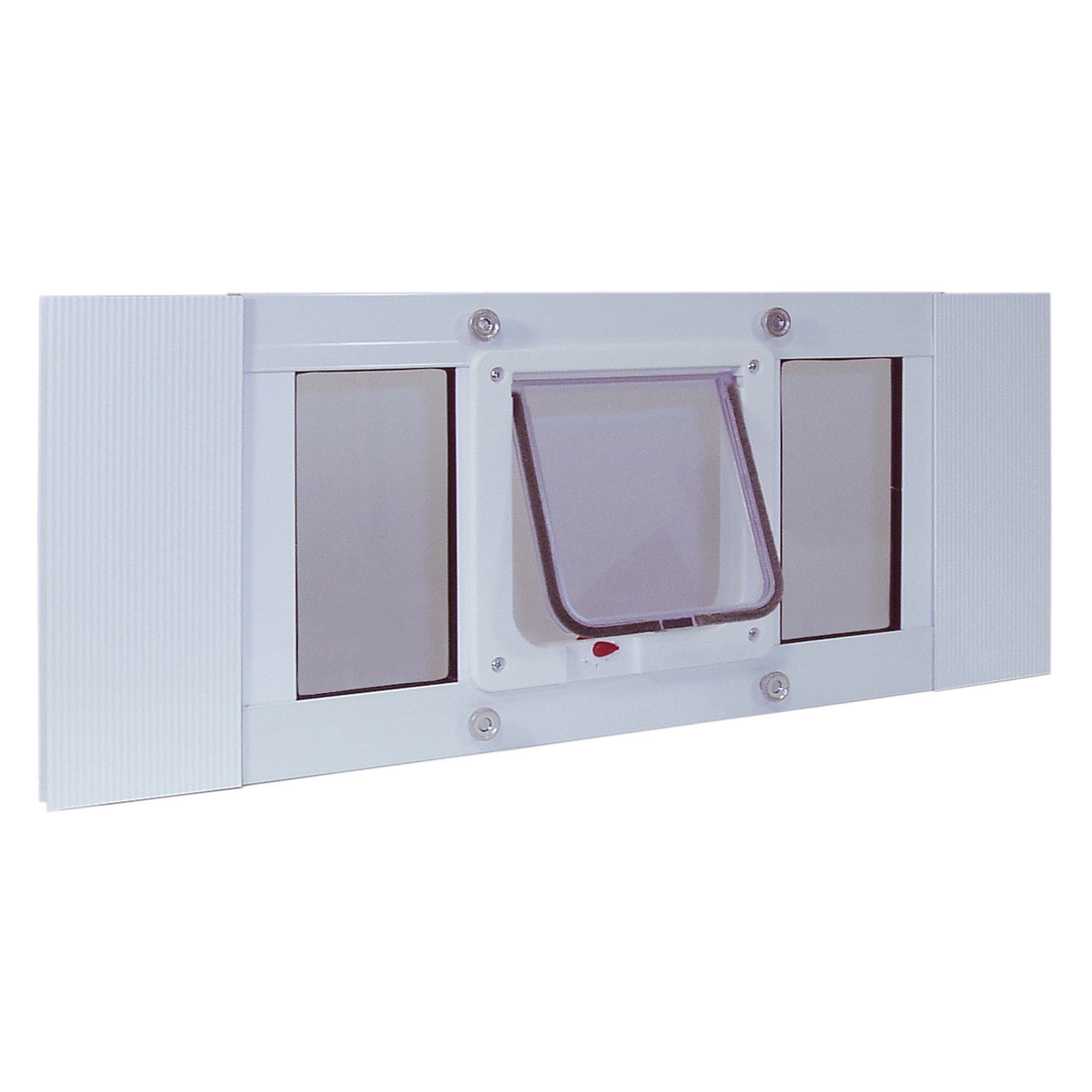 "Ideal Pet Products Aluminum Sash Cat Flap Pet Door Small White 1.25"" x 33"" x 10.63"