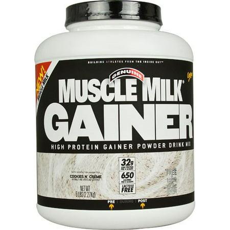 Muscle Milk Genuine Gainer Protein Powder, Cookies & Cream, 32g Protein, 5
