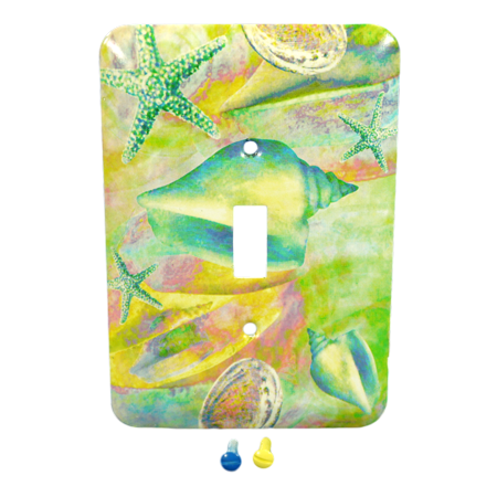 Leviton Seashells 1-Gang Wall Plate Switch Metal Cover Switchplate - Seashell Wall Plate