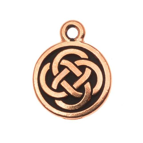 Copper Plated Pewter Celtic Round Charm 15mm (1)
