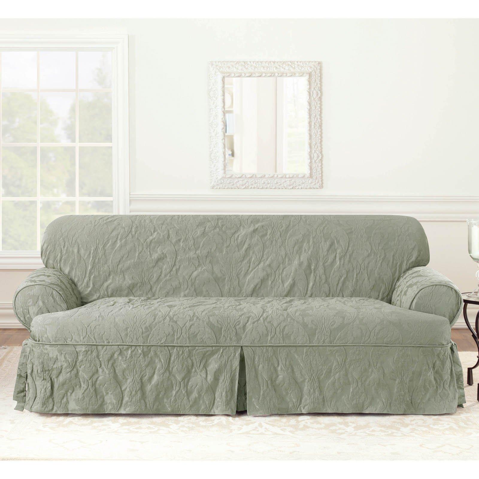 Sure Fit Matelasse Damask 1 Piece T Cushion Kick Pleat Sofa