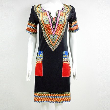 Marainbow Dashiki Vintage Hippie Dress Tribal Printed Boho Shirt Dress](Diy Hippie Clothes)