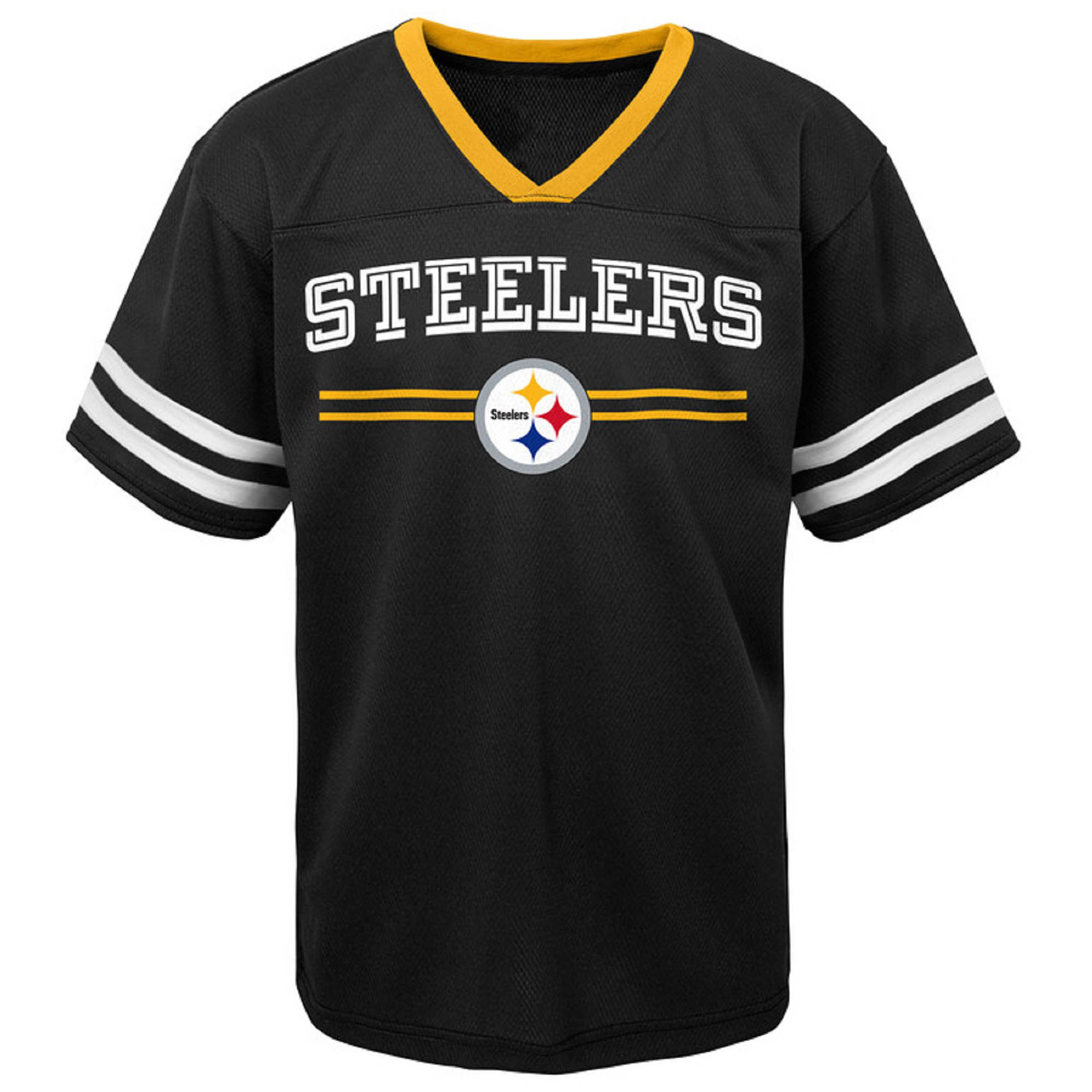 Toddler Black Pittsburgh Steelers Mesh Jersey V-Neck T-Shirt