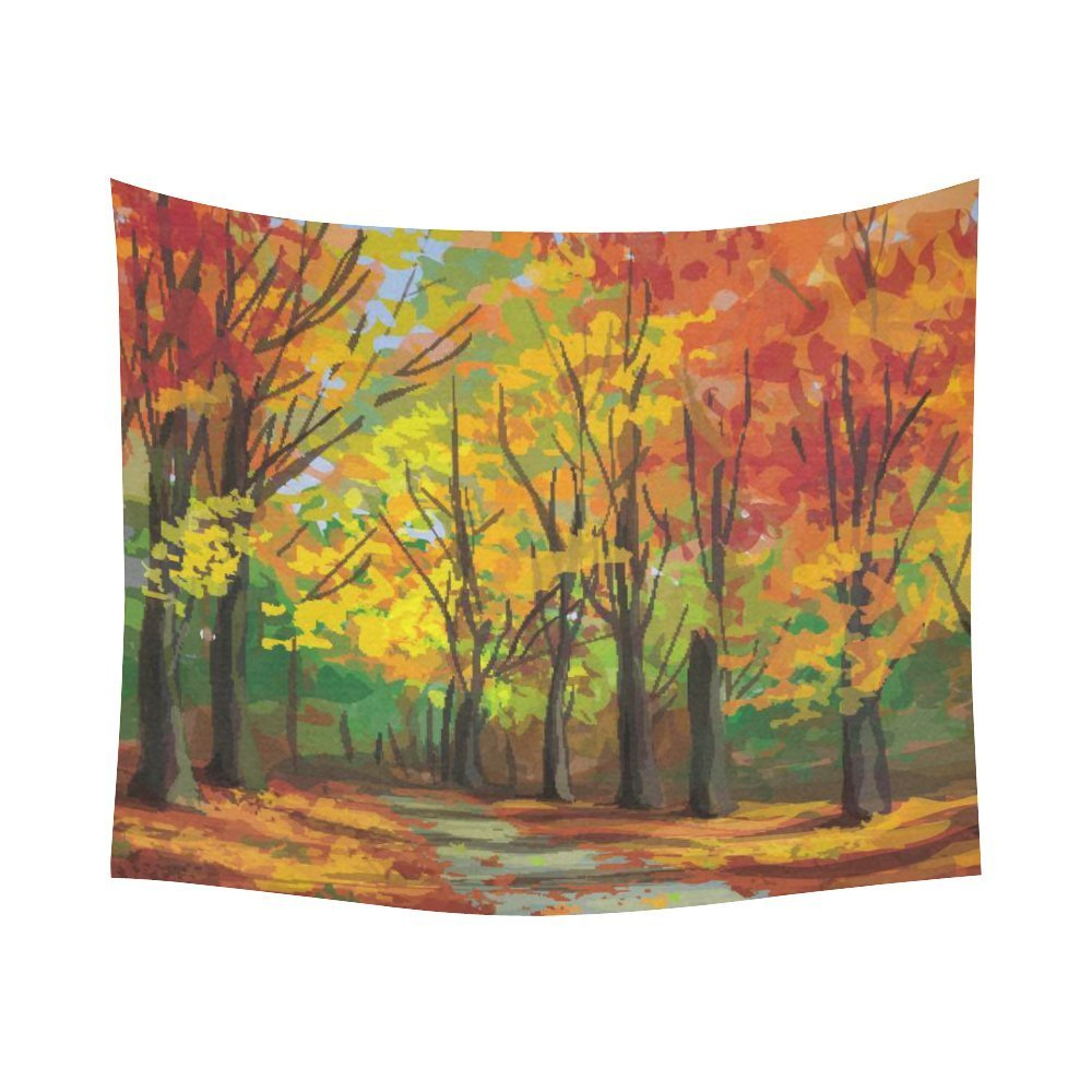Gckg Pathway Road Yellow Tree Autumn Tapestry Wall Hanging Tree Of