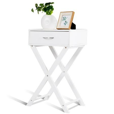 Costway Nightstand X-Shape Drawer Accent side End Table Modern Home Furniture White