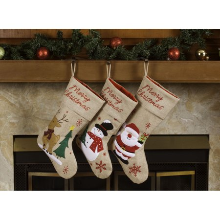 "Burlap Christmas Stockings – 18"" Merry Christmas Burlap Stockings 3 Pack"