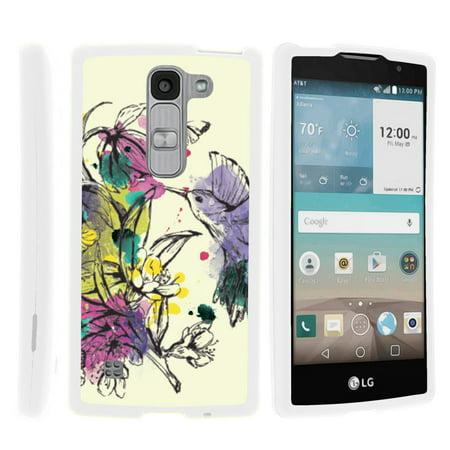 LG Escape 2 H443, LG Spirit LTE, [SNAP SHELL][White] Hard White Plastic Case with Non Slip Matte Coating with Custom Designs - Hummingbird Flowers - Custom School Spirit Items