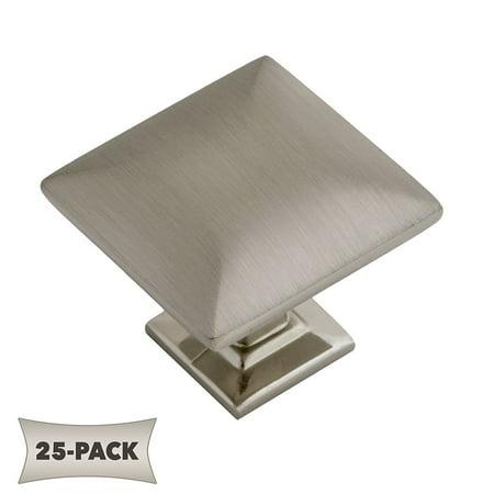 1/4 Inch Modern Brass Knob - 25 Pack Modern Pyramid Square Kitchen Cabinet Hardware Knob 1 1/4 Inch, Satin Nickel