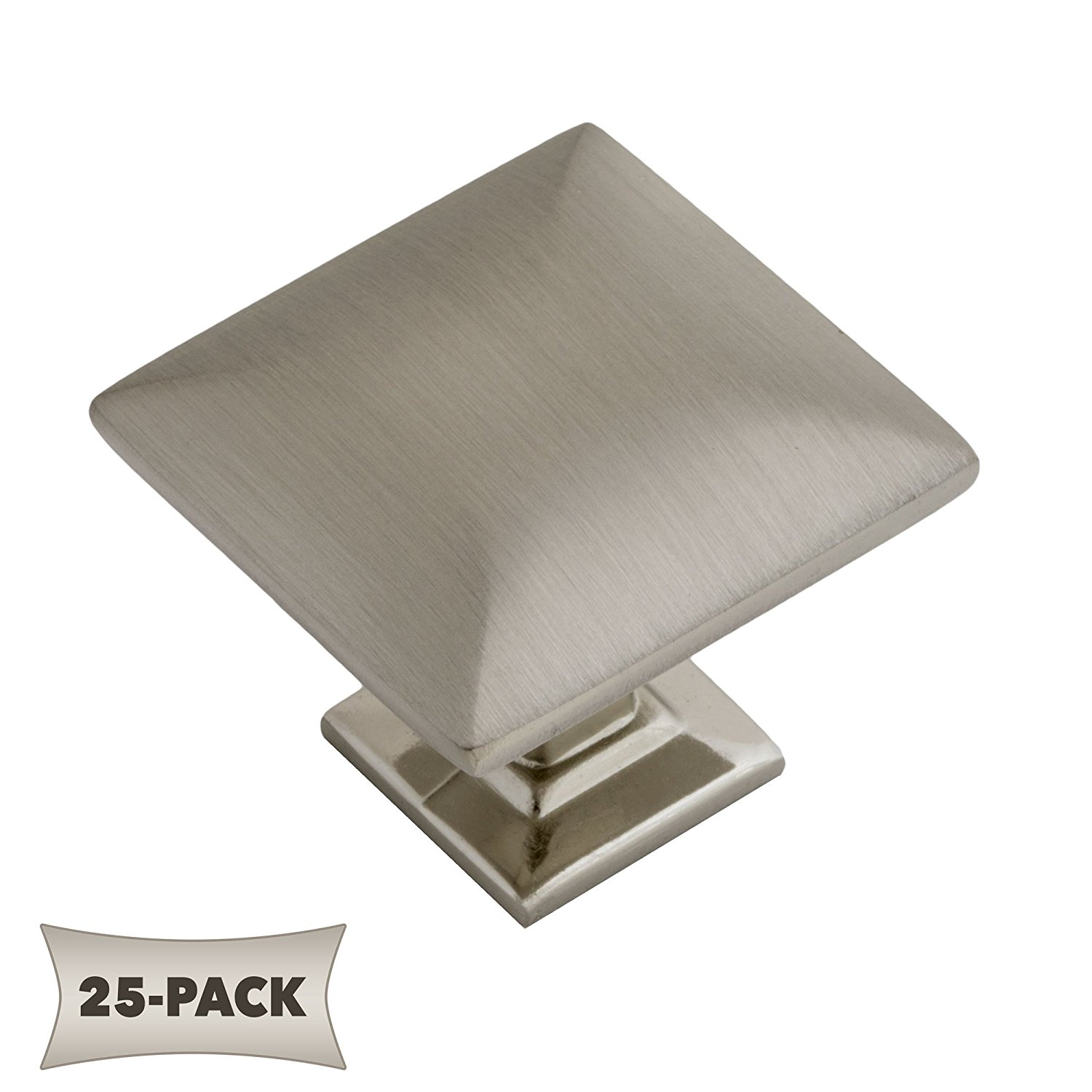 25 Pack Modern Pyramid Square Kitchen Cabinet Hardware Knob 1 1/4 Inch