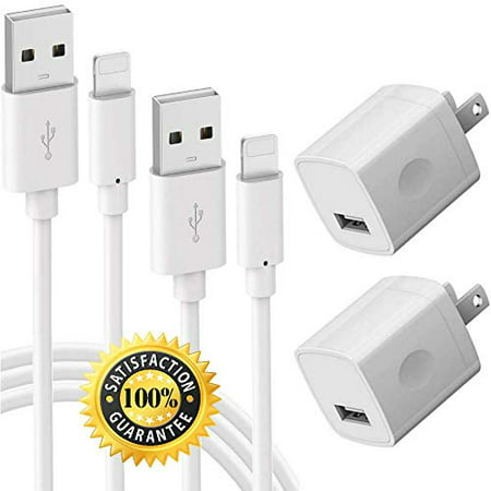 Chargers 5V USB Portable Power Adapter High-Speed 1A Wall Cube for Plug Outlet w/ 6FT 3FT Fast Charge & Sync Cable Compatible for Smart Phone 8 / X / 7
