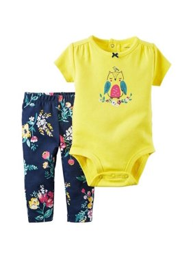 Carter's Baby Girls' 2 Piece Yellow Floral Bodysuit Pant Set - 3 Months