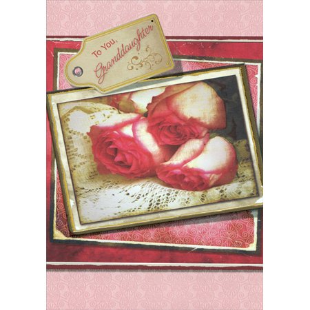 Designer Greetings Roses in Gold Foil Frame: Granddaughter Valentine's Day Card (Valentines Day Frames)