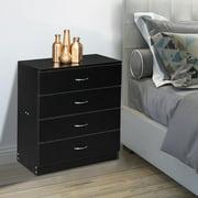Ktaxon 4 Drawers Dresser Bedside Nightstand Cabinets Bedroom Furniture,Chest of Drawer, Black