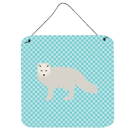 White Arctic Fox Blue Check Wall or Door Hanging Prints BB8051DS66