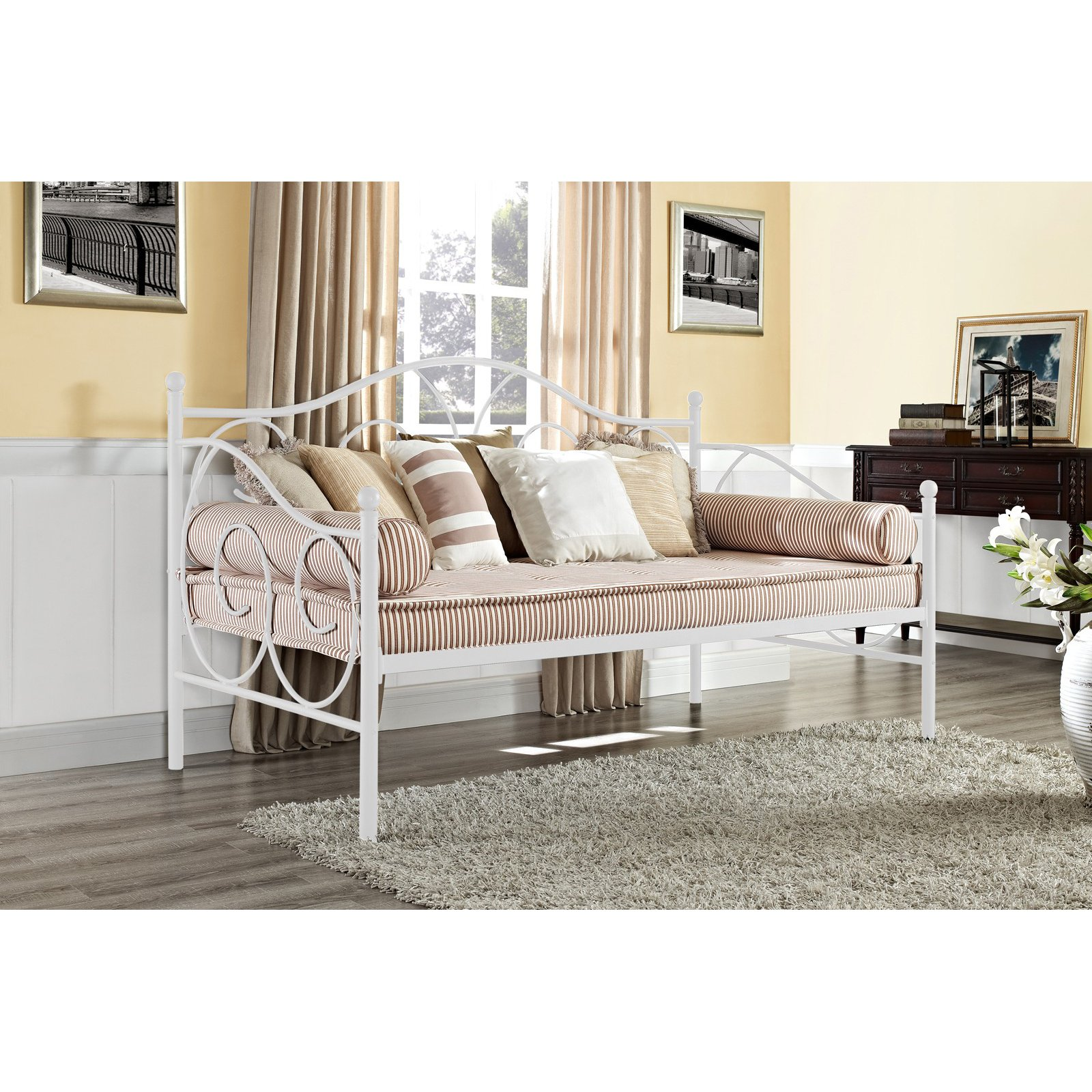 DHP Victoria Metal Frame Daybed, Twin Size, Multiple Colors