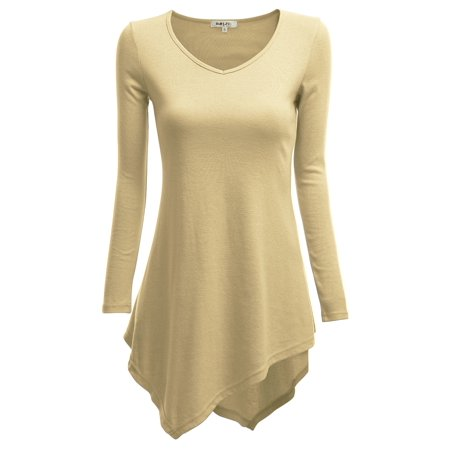 Casual Gold Dress (Doublju Women's Long Sleeve Asymmetrical Tunic Shirt Casual Loose Trapeze Tunic Top Shirt BEIGE)
