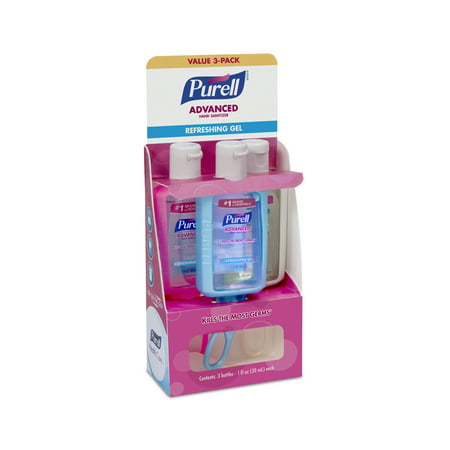 (2 Pack) Purell Advanced Refreshing Gel Hand Sanitizer On the Go Jelly Wrap Carriers, 1 fl oz, 3 count - Halloween Hand Sanitizer Holder