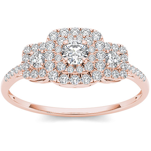 Imperial 1 2 Carat T.W. Diamond 10kt Rose Gold Double Halo Three-Stone Look Engagement Ring by Imperial Jewels