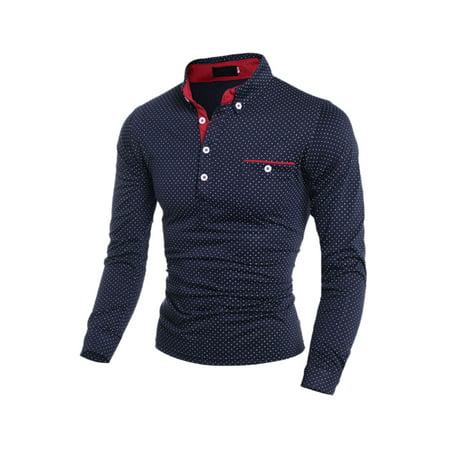 Unique Bargains Men's Dots Prints Long Sleeves Point Collar Slim Fit Polo Shirt Blue (Size S / 36)