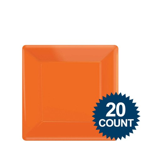 """Orange 7"""" Square Paper Cake Plates (20 Pack) - Party Supplies"""