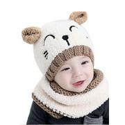 Multitrust Baby Toddler Winter Beanie Warm Hat Hooded Scarf Knitted Cap Kids