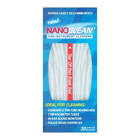 All-in-1 Hearing Aid Cleaning Kit - Gentle and Effective Hearing Aid Cleaning Brush Thread, 1 Pack of 20 Ready-to-Use Strands - Fine Instrument Cleaners by NanoClean