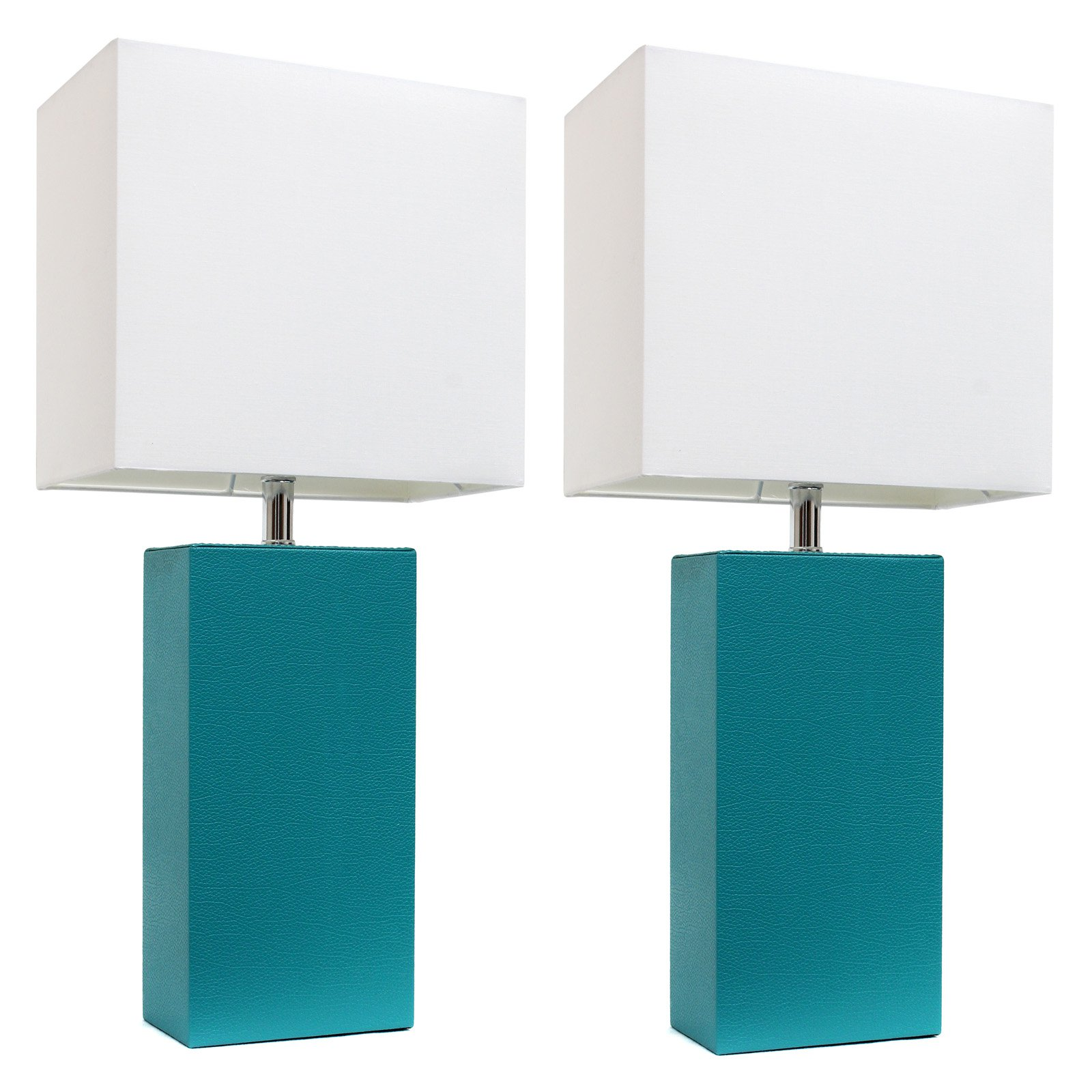 Elegant Designs 2 Pack Modern Leather Table Lamps with White Fabric Shades by All the Rages Inc