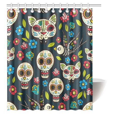 MYPOP Skulls Decorations Shower Curtain, Ethnic Mexican Skulls with Flower Motifs Calavera Day of the Dead Bathroom Shower Curtain, 60 X 72 Inches