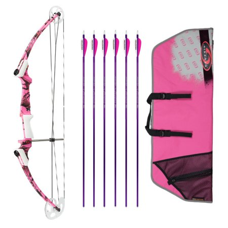 Genesis Archery Original Bow (Left Hand, Pink Camo) with 6 NASP Arrows and - Left Handed Case