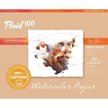 Global Art Fluid 100 Watercolor Paper Block, Cold Press, 16in x 20in, 10 Sheets/Block