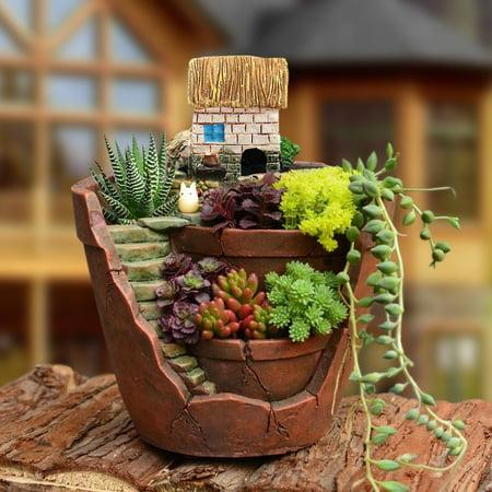 "10 x 12cm/3.9x4.7"" Flower Green Plants Succulent Basket Herb Planter Sky Bonsai Resin Pot Garden House Home Decor DIY Decoration ValentineChristmas Birthday Present Gift,  1 /2 PCS"