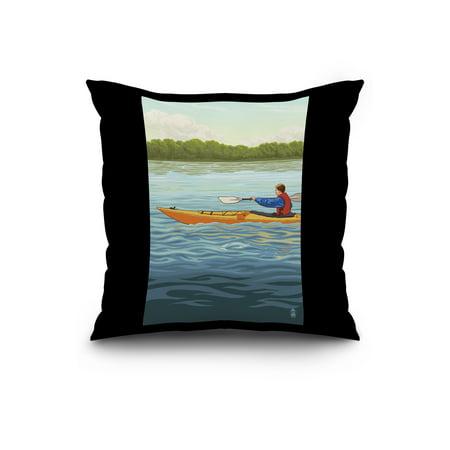 Kayak Male Version Lantern Press Artwork 20x20 Spun Polyester Pillow B