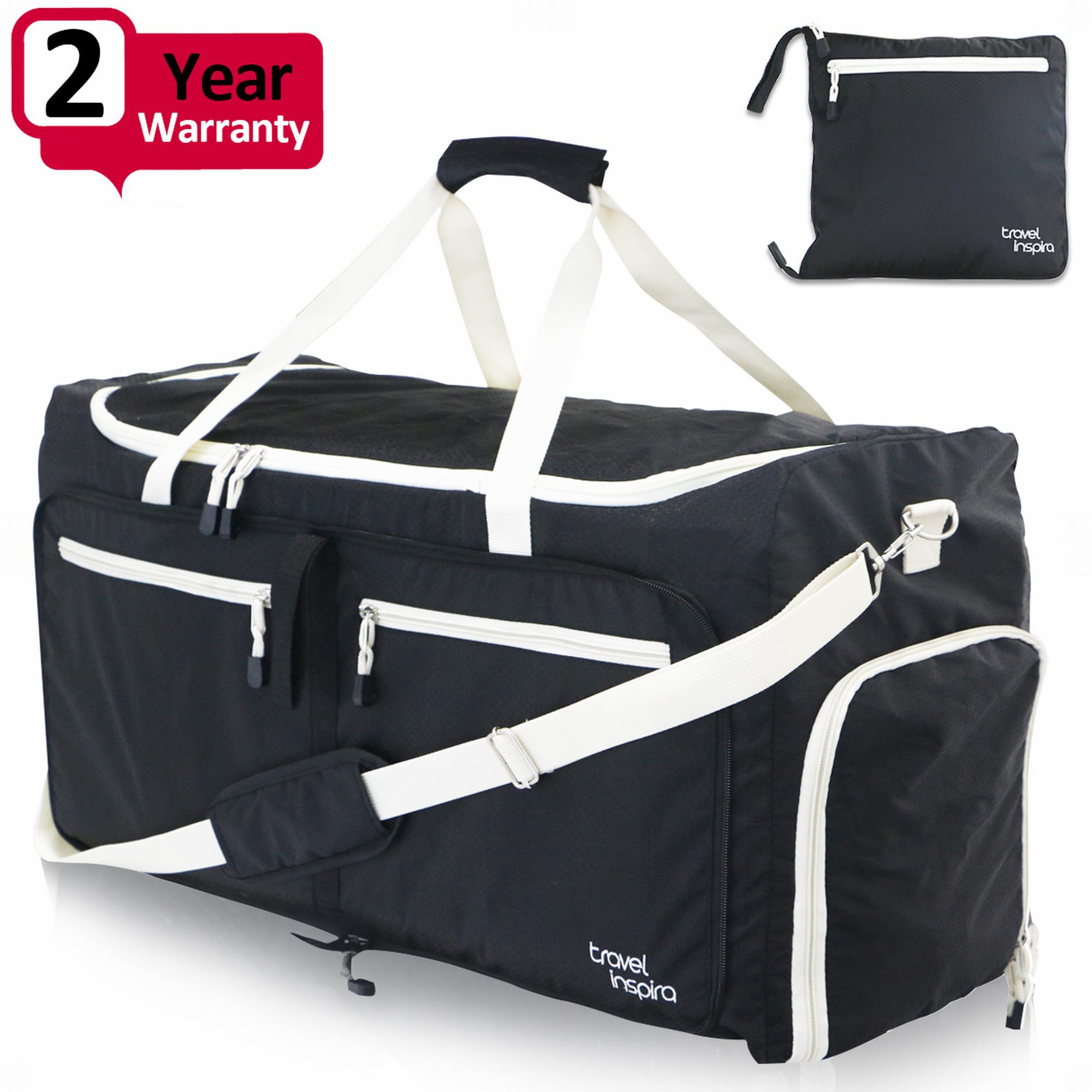 Travel Inspira Large Foldable Duffel Bag XL For Packable Duffle Luggage Gym Sports by