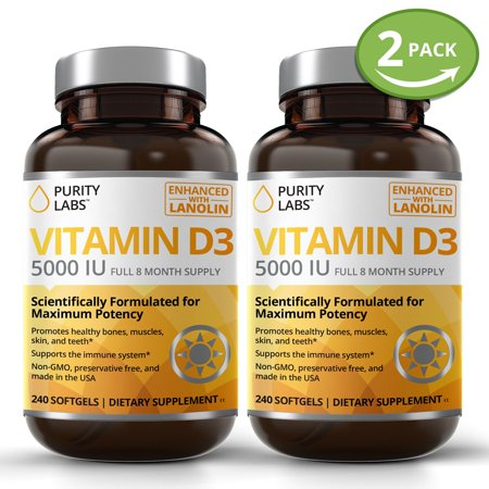 VITAMIN D3 5000IU Supplements - 240 Gelcaps Support Healthy Bones, Muscles,  Skin, Teeth & Immune System Enhanced with Lanolin