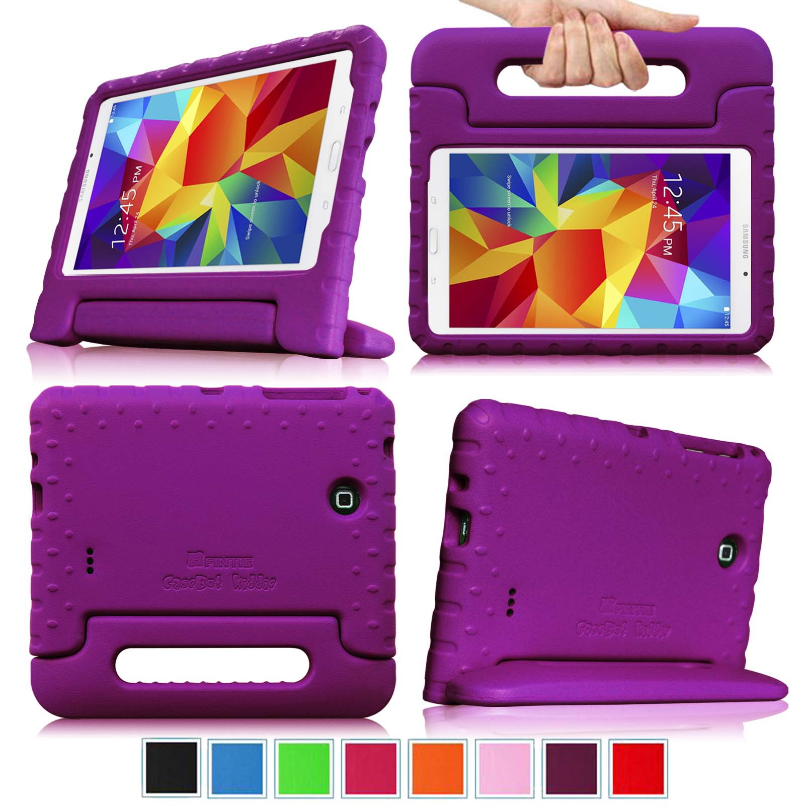 Samsung Galaxy Tab 4 7.0 Inch Case - Fintie Lightweight Shockproof Convertible Handle Stand Cover Kids Friendly, Purple